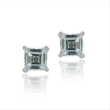 Sterling Silver Blue Topaz 5mm Square Stud Earrings