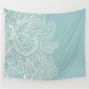 Wall Tapestry Mehndi Design Teal Blue Cream Off White  Boho Bohemian Dorm Room Home Decor