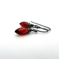 Red garnet earrings, oxidized silver red gemstone jewelry. January birthstone, burgundy garnet jewelry, dark red drops, delicate jewelry