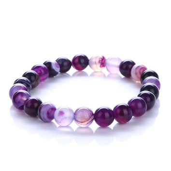 2018 Trendy Jewelry Transfer luck Purple Bracelet Chakra Yoga Beads Volcanic Stone 8mm Natural Stone Beads Bracelets For Women