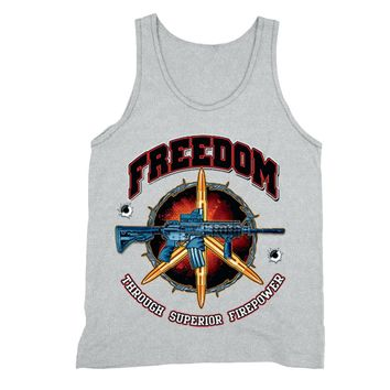 XtraFly Apparel Men's Freedom Firepower Rifle 2nd Amendment Tank-Top