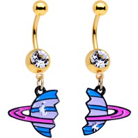 Clear Gem Gold PVD BFF Planet Best Friend Dangle Belly Ring Set of 2