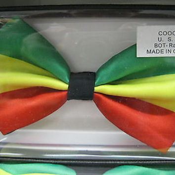 RASTA (GREEN/YELLOW/RED) MULTI COLOR ADJUSTABLE BOWTIE BOW TIE-NEW GIFT BOX!