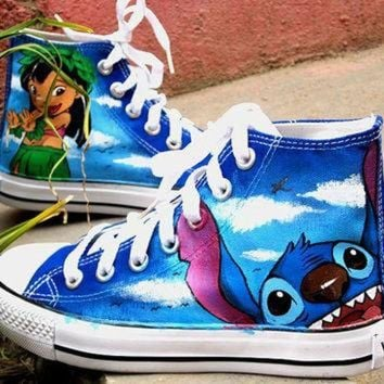 ESBONB Stitch anime Lilo Stitch shoes custom converse shoes Lilo & Stitch Hand Painted Conver