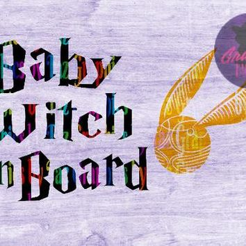 HP inspired Baby Witch on Board, SVG cut file for Cricut and silhouette cutting machines