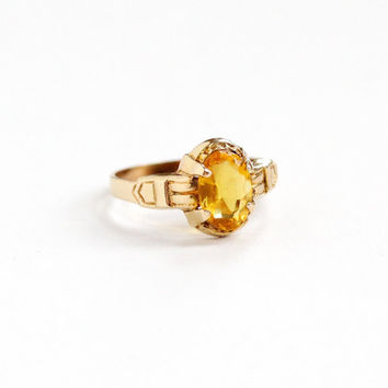Vintage Art Deco 10k Yellow Gold Simulated Citrine OB Ring - 1930s Ostby & Barton Size 3 Yellow Glass Repousse Design Fine Stacking Jewelry