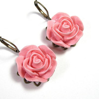 Mother's Day Flower Earrings, Dangle Earrings, Rose Resin Earrings, Womens Accessories, Fashion Jewelry, Gifts for Gardeners, Under 25
