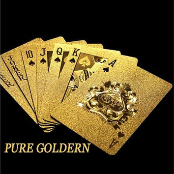 Pure Golden Card Gold Plat Playing Cards Full Per Deck International Standard (Color: Gold) [9305895431]