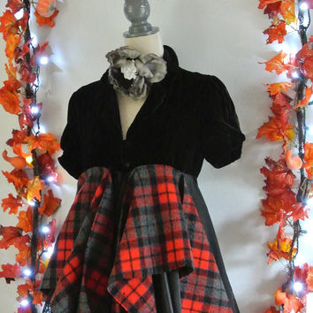 Fall coat, bohemian duster, Velvet, tartan plaid jacket, Victorian clothes. RESERVED Downton abbey style, boho chic, true rebel clothing
