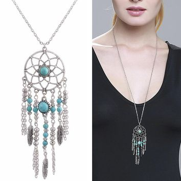 N187 Bohemian Long Chain Necklace Flower Feather Beads Pendants Necklaces For Women Collares Fashion Jewelry Boho