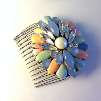 Vintage Inspired Handmade Sherbert Multi Color Crystal and Pearl Bridal Hair Pin Pendant Brooch