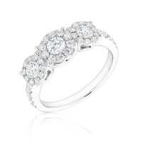 Forevermark Three Diamond Halo Ring 1ctw
