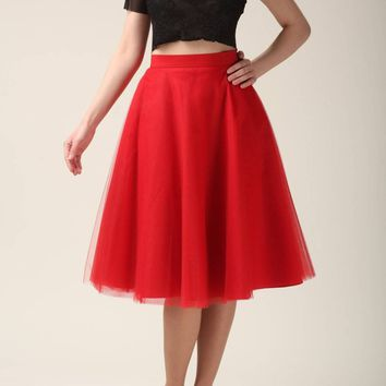RED TULLE SKIRT (circle)
