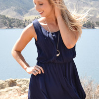Beach Town Tie Back Dress Navy