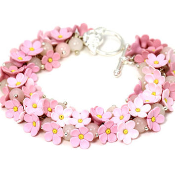 Pink Tender Bracelet with Flowers Floral Jewelry Gift for Christmas Romantic Jewelry Gift for Girl Pink