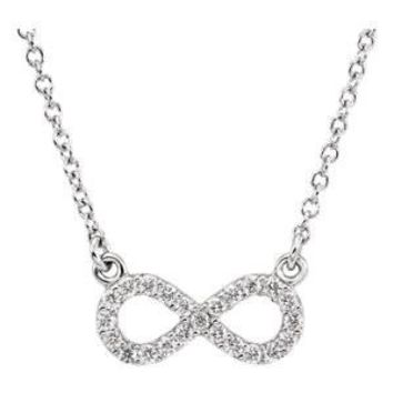 Shop White Gold Infinity Necklace on Wanelo 2430379779
