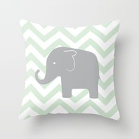 CHEVRON ELEPHANT TEAL Throw Pillow by Janelle Krupa