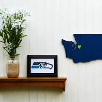 "Seattle Seahawks ""State Heart"" wall art, handcrafted wood with official team colors"