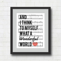 "What a Wonderful World Art Print - 8x10"" Louis Armstrong Song Lyrics on Sheet Music Wall Art Print"