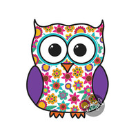 Owl Car Decal Sticker Cute Colorful Flower Bird Bumper Sticker Window Laptop Decal Pink Yellow Blue Orange Purple
