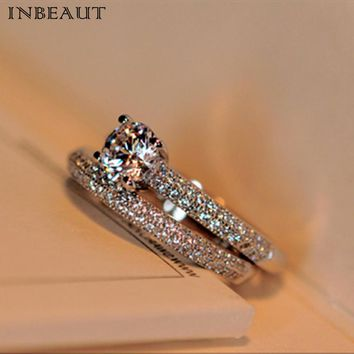 INBEAUT Women Trendy 925 Silver Double Zircon Stone Wedding Rings Set Female CZ Engagement Bridal Ring Sets Jewlry Teen Girl
