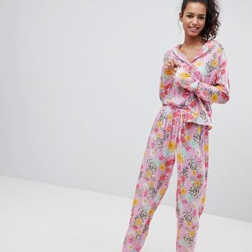 ASOS Bright Floral 100% Modal Traditional Shirt & Trouser Pyjama Set at asos.com