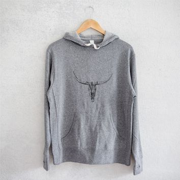 Longhorn Skull - Grey French Terry Hooded Sweatshirt