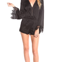 LONG SLEEVE SATIN WRAP ROMPER WITH LACE