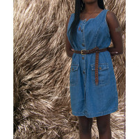 Fitted 90's Vintage Denim Button Down Dress