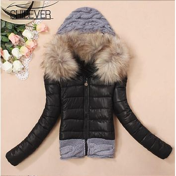 SHIBEVER winter women ladies coat warm knitting wool cap stitching sweaters candy color female jackets outwear vetement JT354