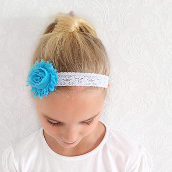 Blue Baby, Child Headband, Stretchy Floral, Fashion Hair Accessories, Head Wrap, Shabby Chic, Ear Warmer, Sweatband, Child Teen Gift Idea.
