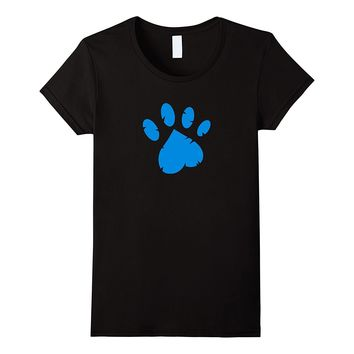Animal Rescue T-Shirt in Black with Blue Paw