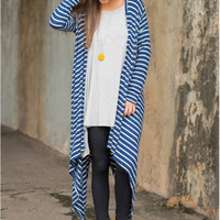 Blue Striped Long Sleeve Long Cardigan