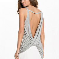 Sleeveless Asymmetrical Backless Ruched Tank Top