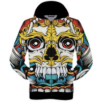 Colorful Skulls Zip-Up Hoodie