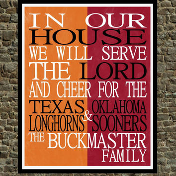 Customized Name Texas Longhorns & OK Sooners NCAA personalized family print poster Christian gift sports wall art - multiple sizes