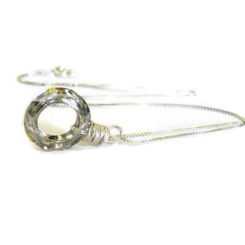 Sterling silver necklace Swarovski silver infinity cosmic ring gift for her stocking stuffer gift under 50