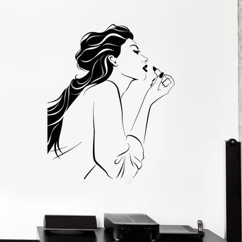 Vinyl Decal Cosmetic Beauty Salon Makeup Stylist Girl Room Wall Stickers (ig2646)