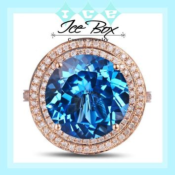 Blue Topaz Engagement Ring 10.15ct 13mm Round Cut in a 14k White Gold Diamond Halo Setting
