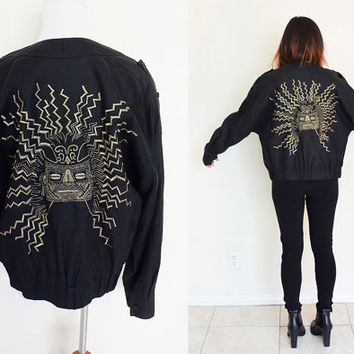 Vintage linen tribal embroidered black bomber jacket gold Ellen Tracy