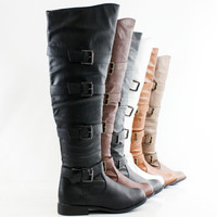 Womens Thigh High Boots Over The Knee Motorcycle Biker Riding Buckle Flat Heels
