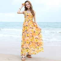 Yellow Spaghetti Strap Floral Print Maxi Dress