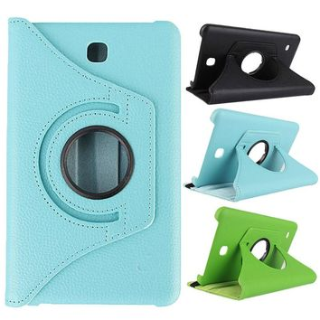 360 Degrees Rotating PU Leather Smart Shell Cover for Samsung Galaxy Tab 4 7.0 Inch(T230) Tablet Protective Case QJY99