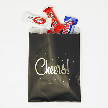 Black and Gold Cheers Party Favor Gift Bags Popcorn Treat Bags- 48 count