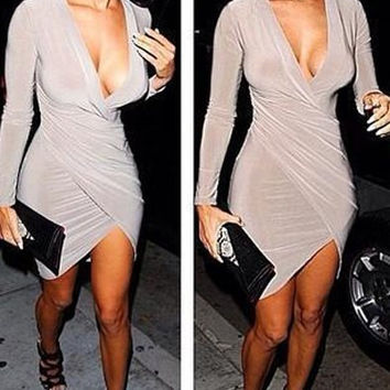 Long Sleeve Deep V-Neck Asymmetric Bodycon Dress