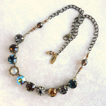 NEW Swarovski crystal necklace, 11mm topaz and blue, better than sabika, GREAT PRICE