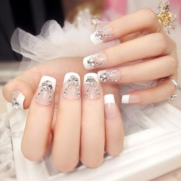 New 24pcs/set clear white french style rhinestone resin Nail Art False Fake Nail Tips Stickers With Glue Bride Make Up Nail Art