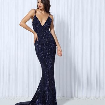 Otilia- Sequin V Neck Open Back Maxi Dress
