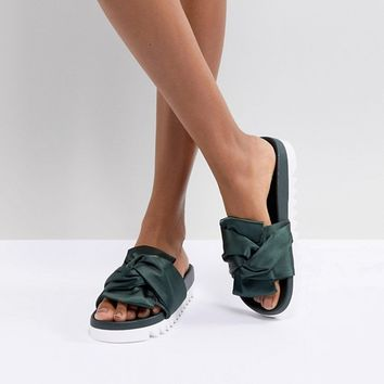 Glamorous Green Satin Bow Flatform Slide at asos.com
