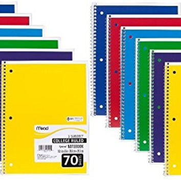 Mead Spiral Notebook, College Ruled, 1 Subject, 12-Pack